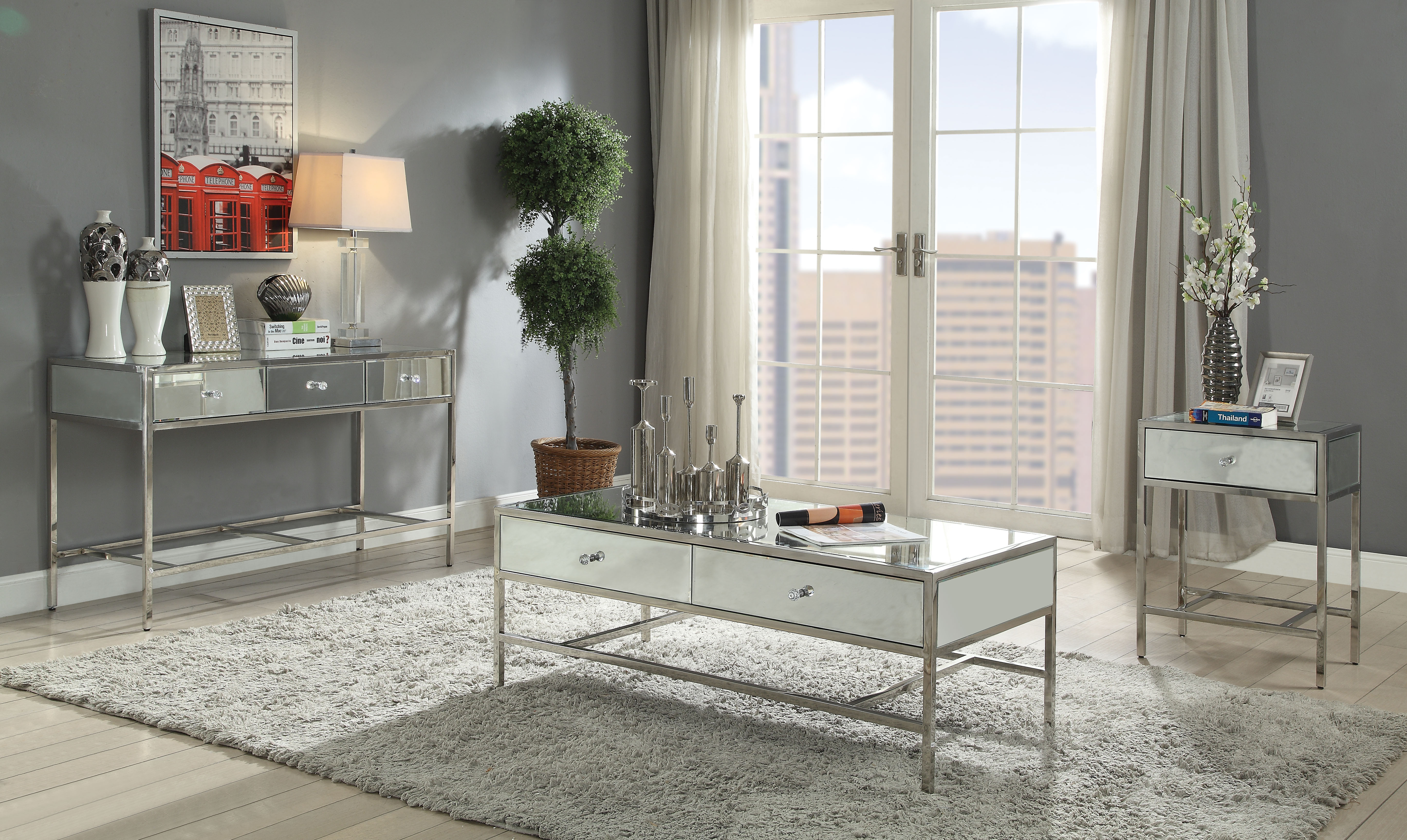 Acme Furniture Weigela Coffee Table In Mirrored And Chrome Finish 80555