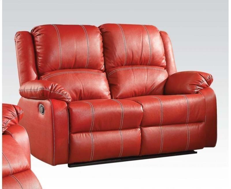 Acme Zuriel Motion Loveseat In Red Finish 52151 Ebay