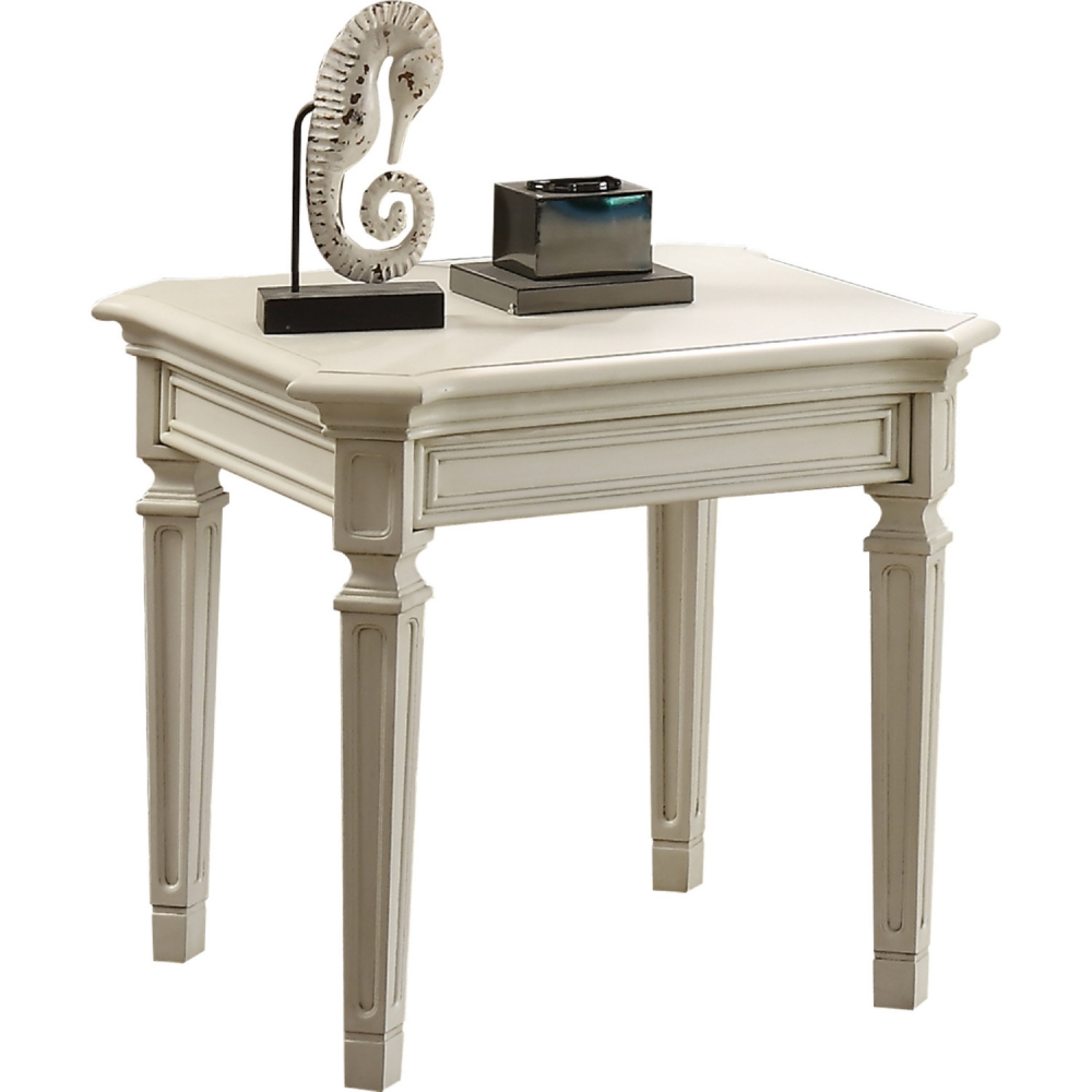 Sensational Details About Acme Florissa End Table In Antique White Finish 83092 Bralicious Painted Fabric Chair Ideas Braliciousco