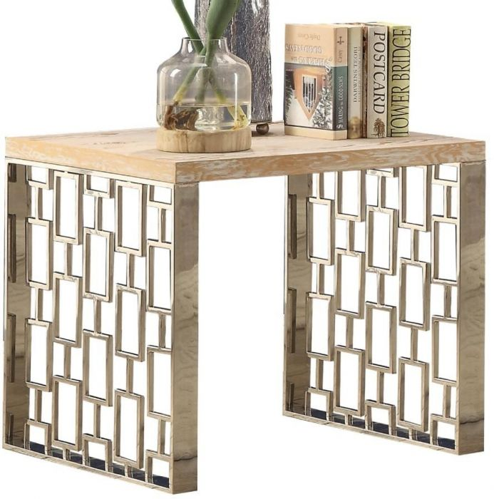 Acme Portia End Table In Oak And Steel Finish 83812