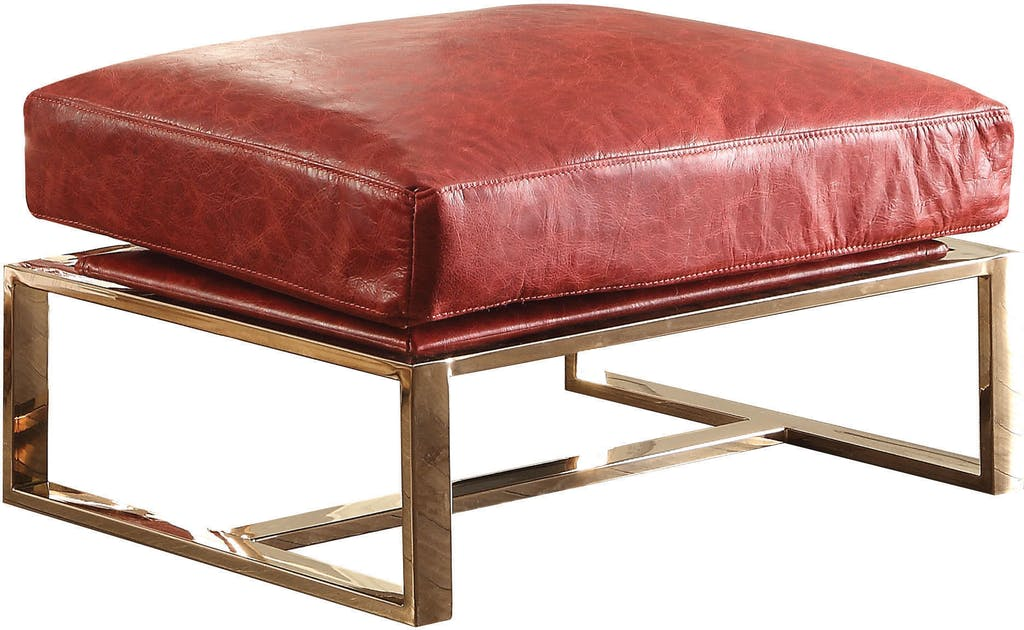Outstanding Details About Acme Quinto Ottoman In Antique Red Tg Leather And Stainless Steel Finish 96673 Machost Co Dining Chair Design Ideas Machostcouk