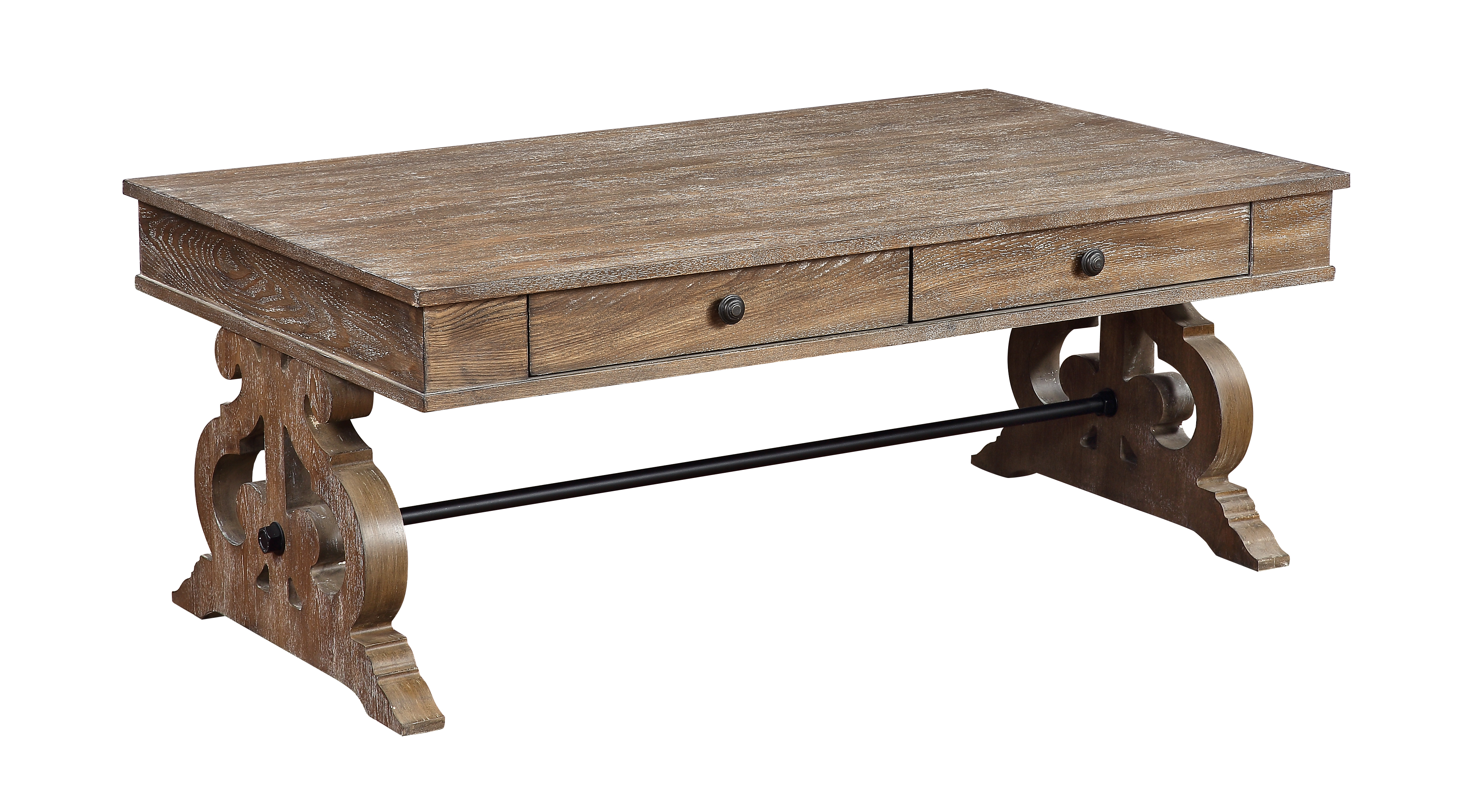 coast to coast sherwood two drawer cocktail table in aged brown 48163