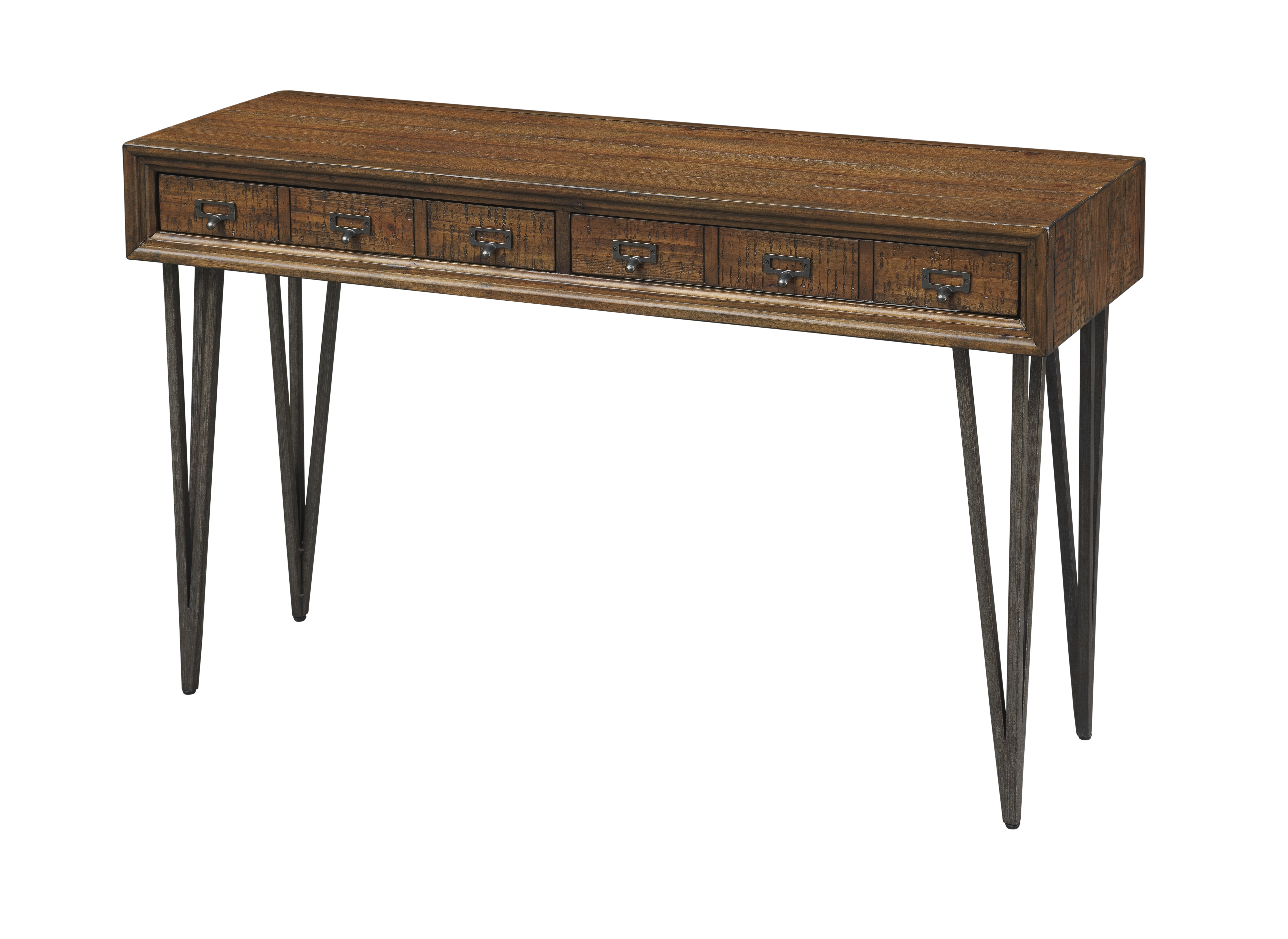 coast to coast oxford two drawer console table in distressed brown finish 40290