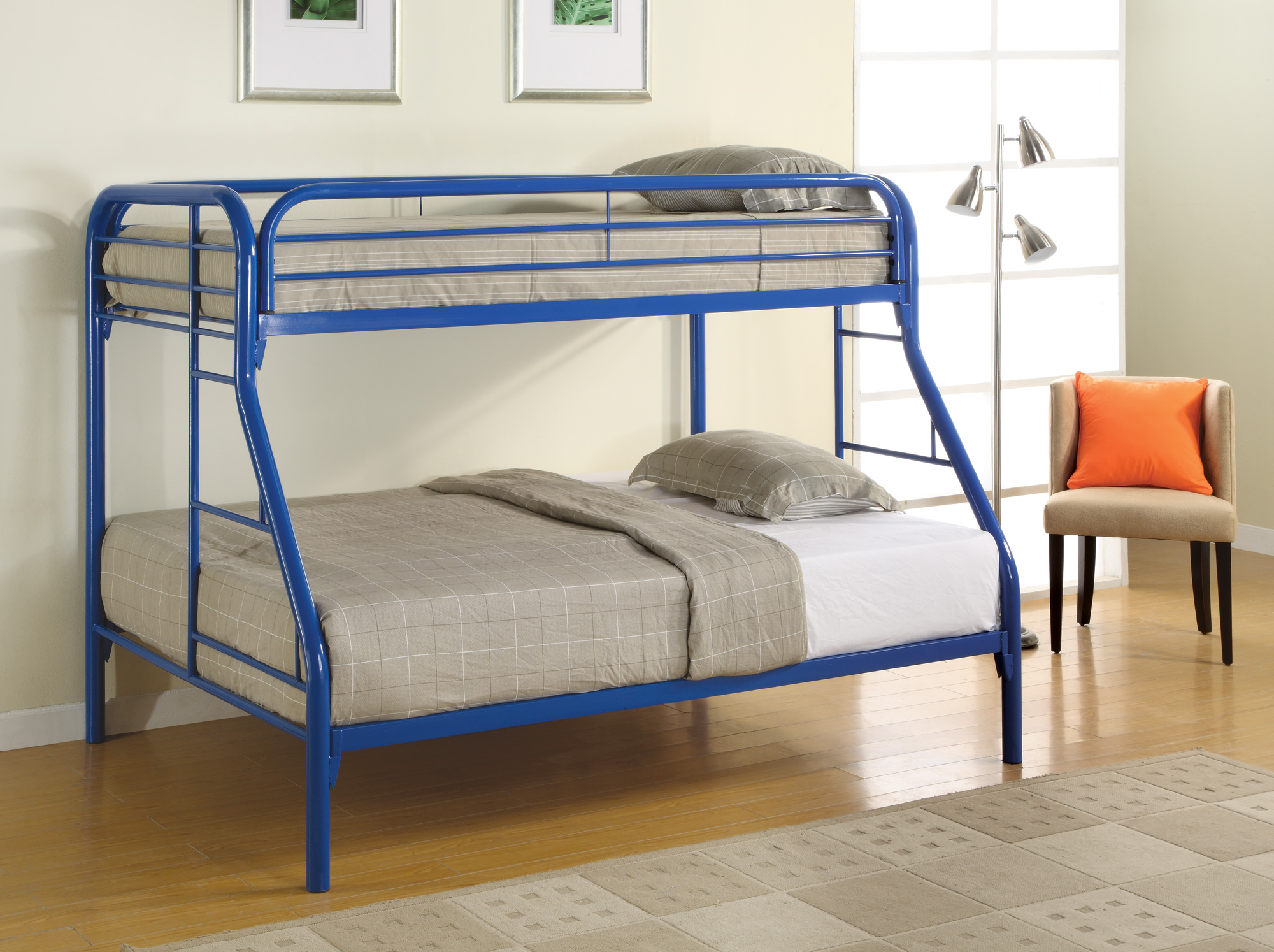 coaster contemporary metal twin and full bunk bed with. Black Bedroom Furniture Sets. Home Design Ideas
