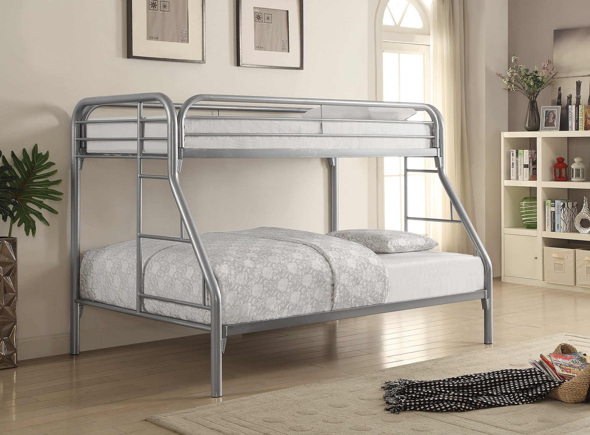 Coaster Metal Twin And Full Bunk Bed With Silver Finish