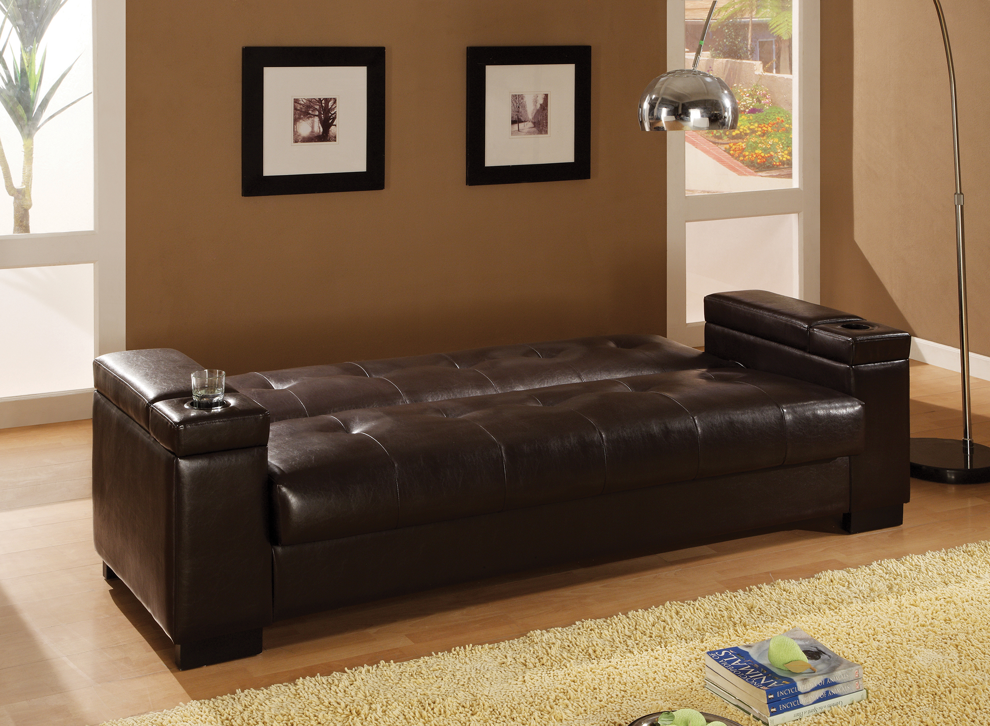 Coaster Transitional Faux Leather Sofa Bed inDark Brown Finish ...