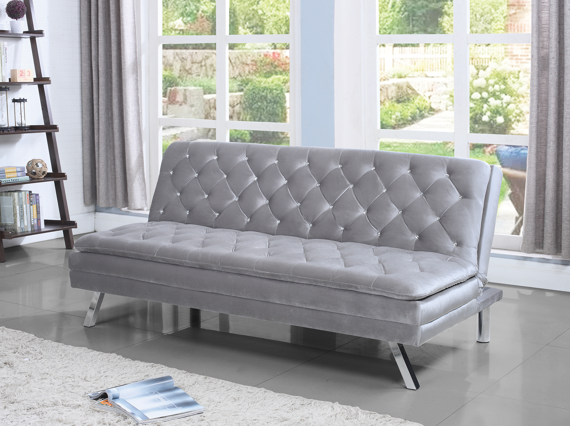 coaster fabric sofa bed with silver finish 360019 21032378080 ebay rh ebay com ebay sofa bed grey ebay sofa bed melbourne