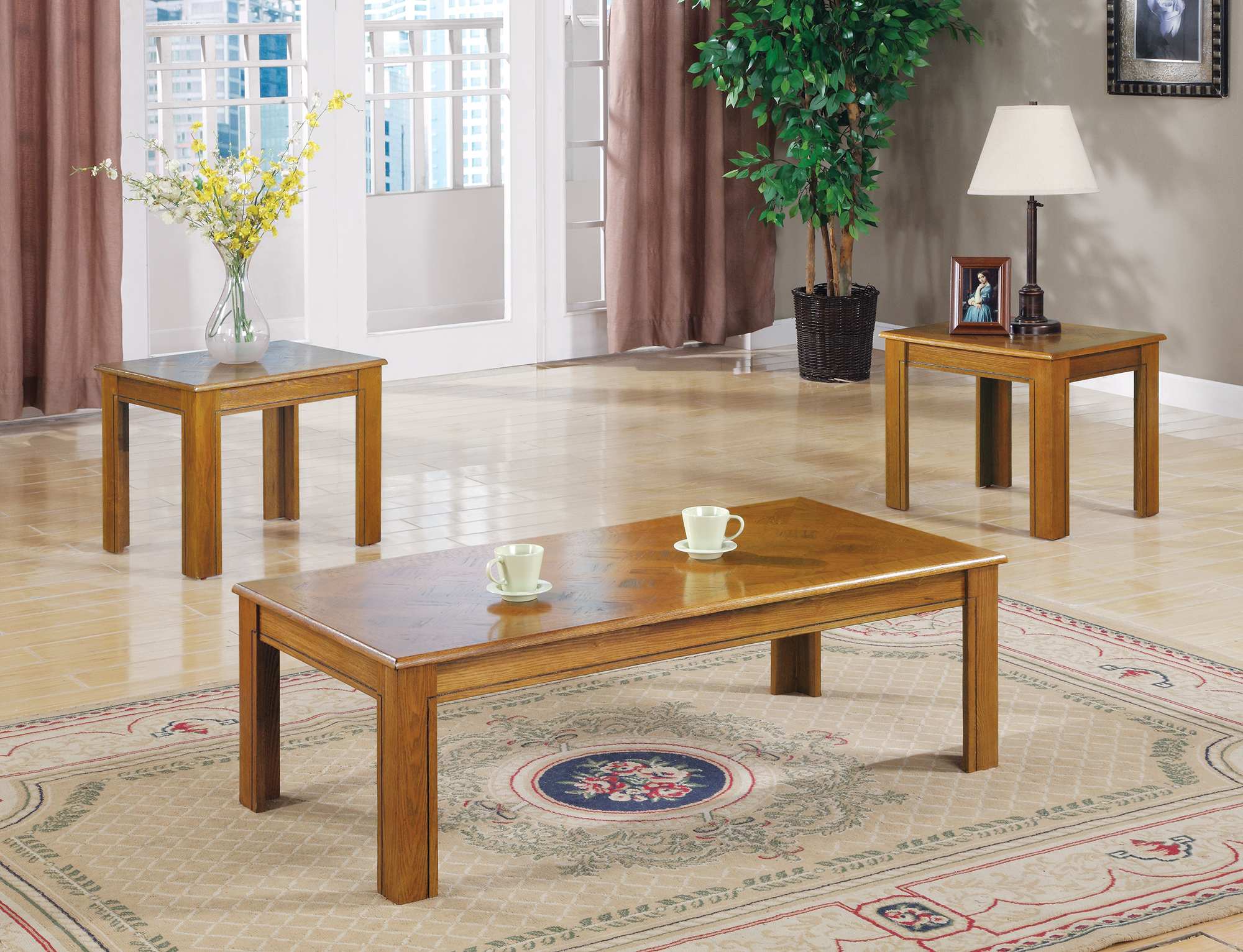 Image Is Loading Coaster 3 Piece Casual Wood Coffee Table Set