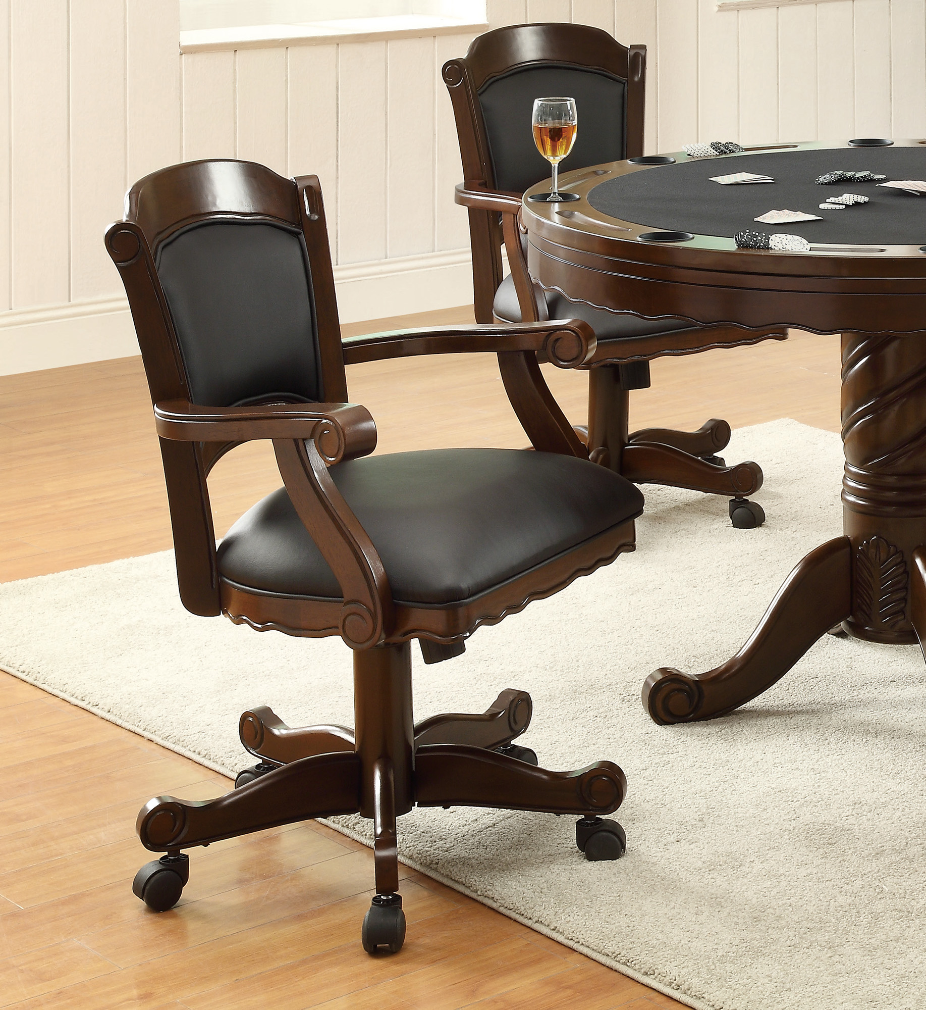 Coaster Casual Wood And Leather Chair With Tobacco