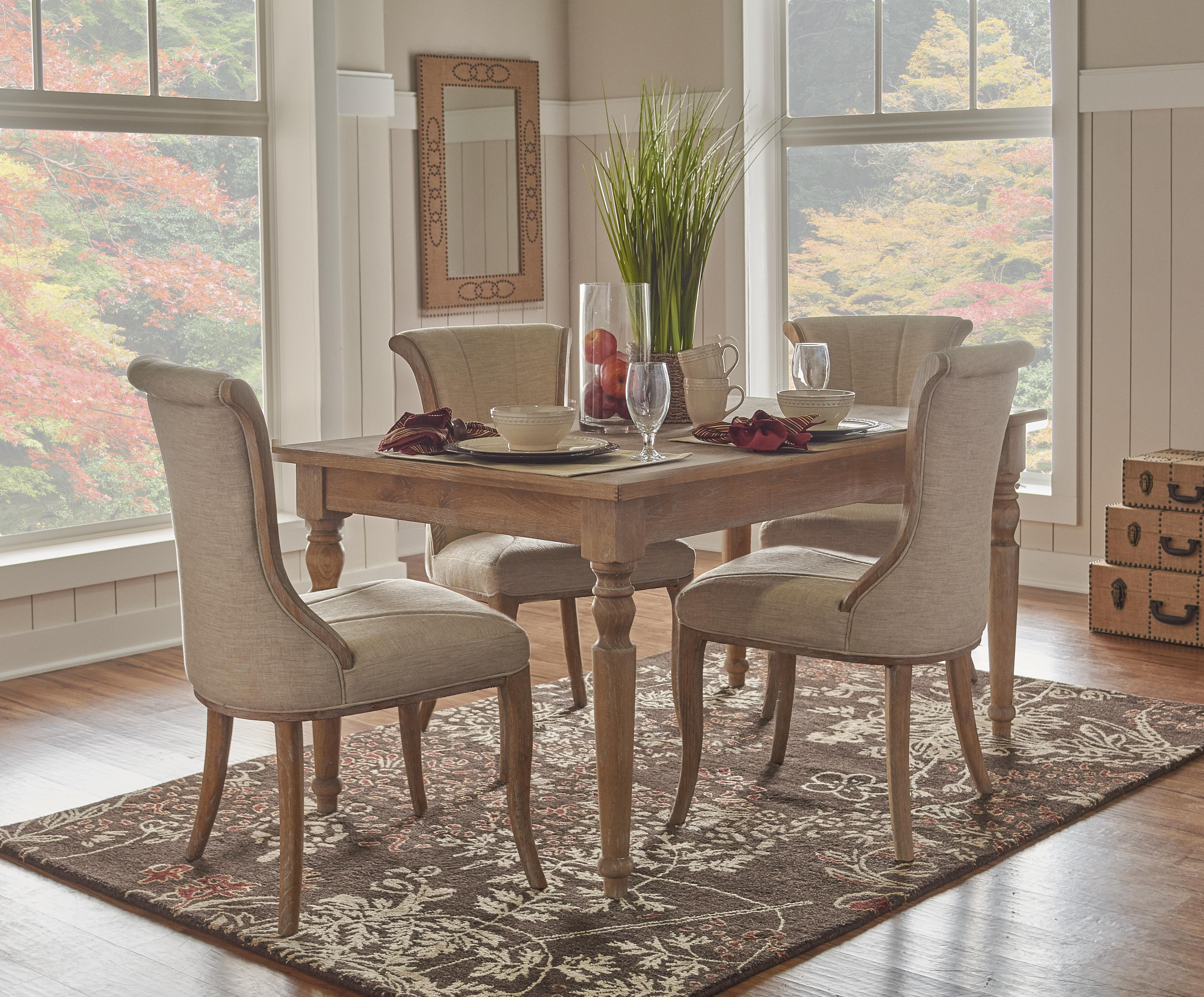 Linon elm and oak veneer dining table in