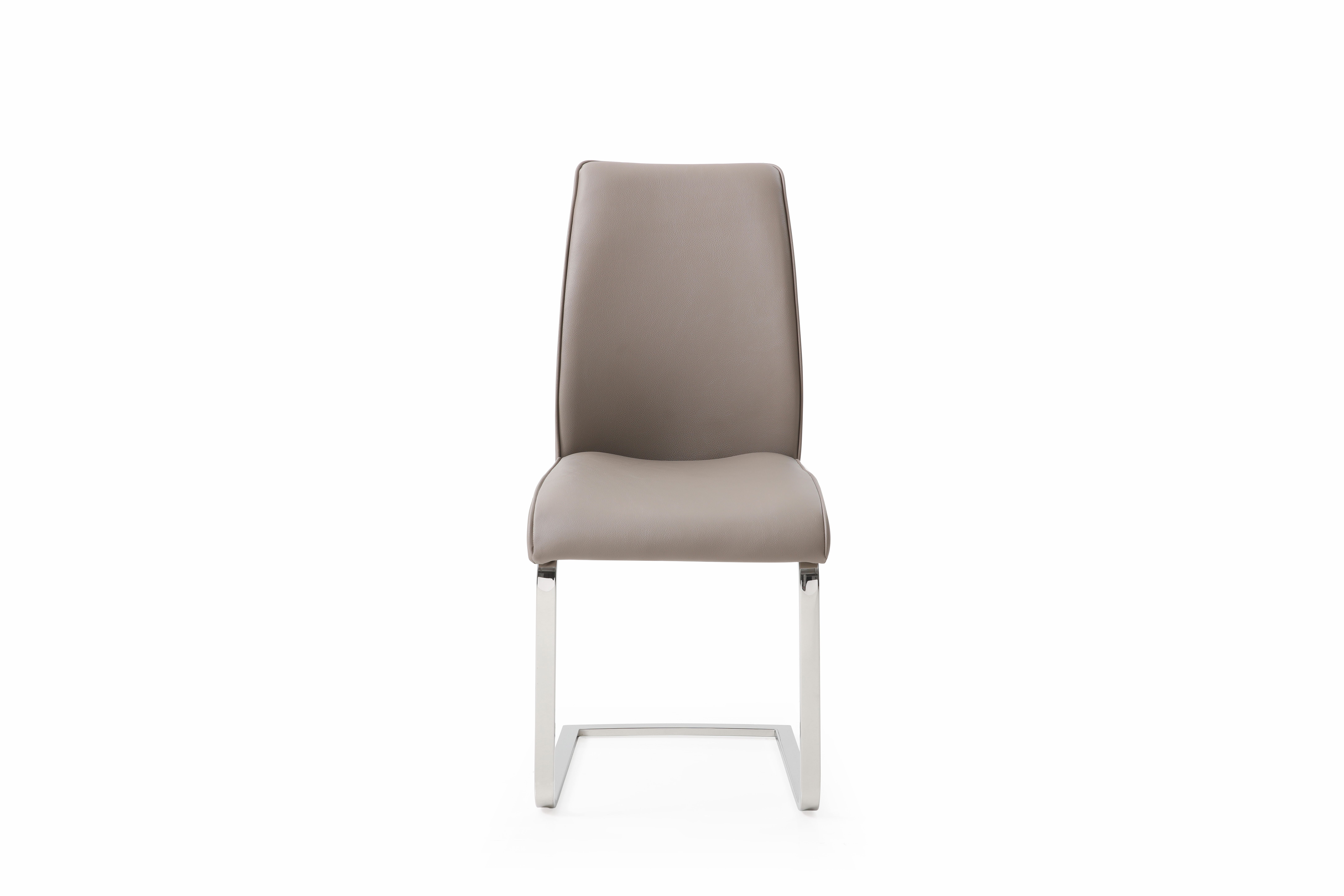 whiteline katrina set of 2 dining chair in warm grey faux leather dc1628p-gry